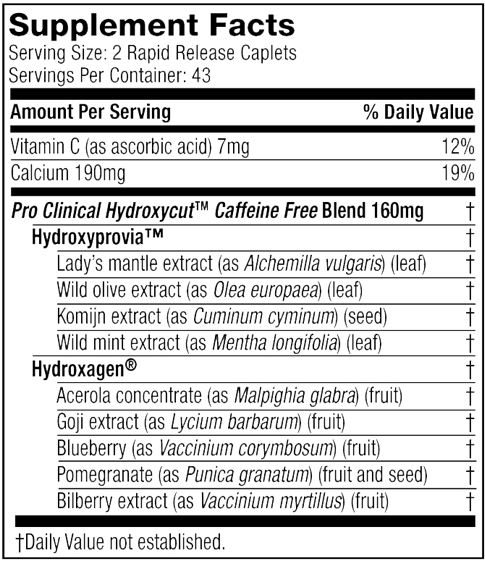 Hydroxycut pro clinical ingredients